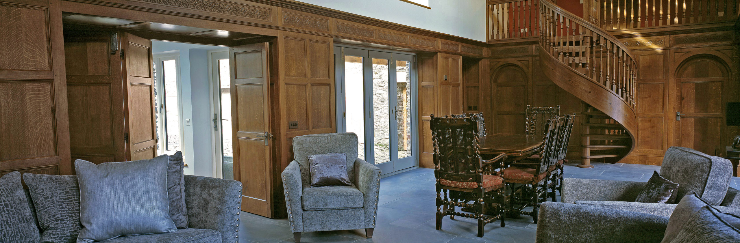 Period+architectural+joinery+staircases+Oak+interiors+panelling+wall panelling